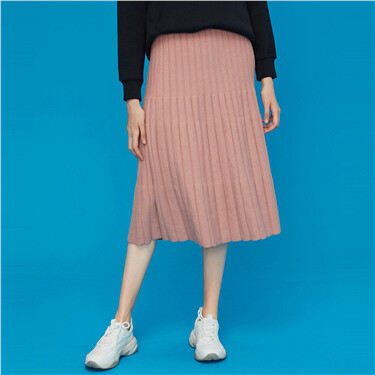 Pink elastic waistband loose hem skirt