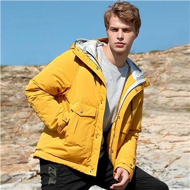 Stand collar 90% white duck down hooded jacket