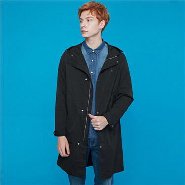 Solid hooded mid-long jacket