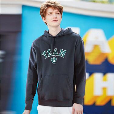 Embroidery fleece-lined hoodie