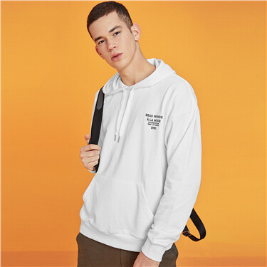 Embroidery fleece-lined hoodie