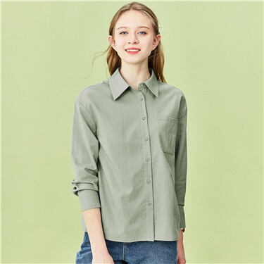 Solid turn-down collar long-sleeve shirt