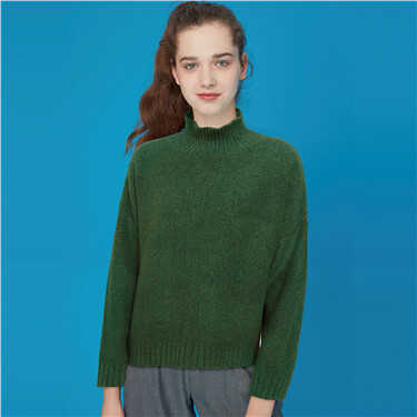 Mockneck cable knitted sweater