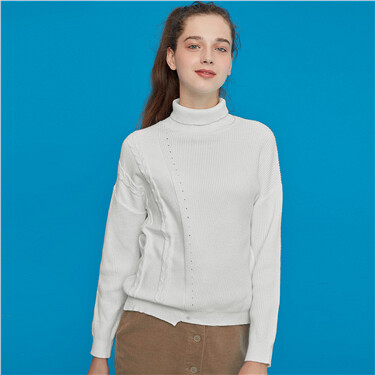 Irregular Hem Turtleneck Knitted Sweater
