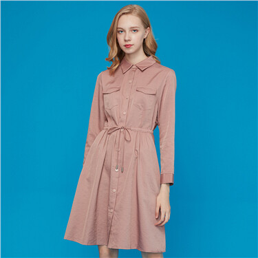 Banded-waist mid-length trench coat