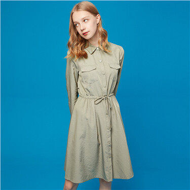Banded-waist mid-length trench