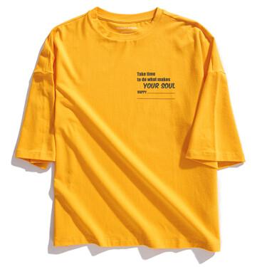 字母印花宽松圆领短袖T恤