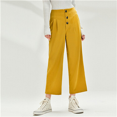Buttons pleated ankle-length pants