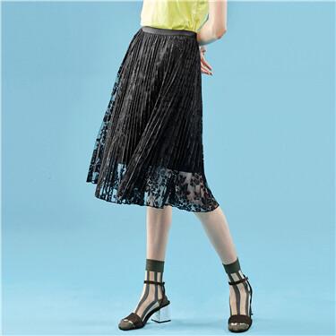 Elastic waistband gauze skirt