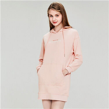 Letter printing kanga pocket hooded dress