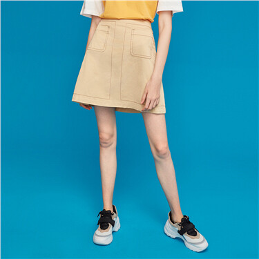 Elastic waistband slant pockets skirt