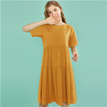 Crewneck cotton tiered dress