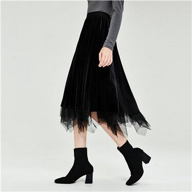 Reversible velvet chiffon elastic-waist skirt