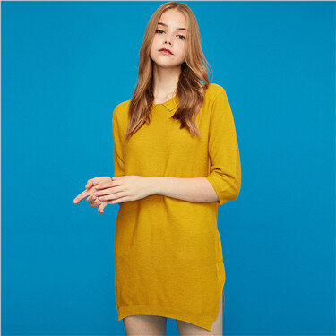Half-sleeve pullover knitted dress