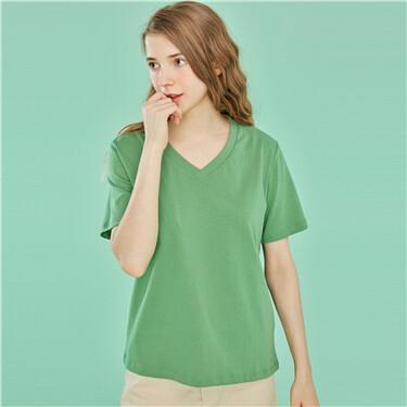 V领纯棉圆领短袖T恤