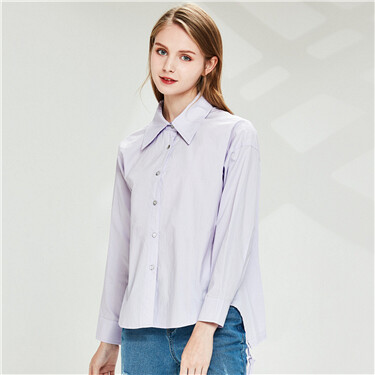 Drawstring design at hem long-sleeve shirt