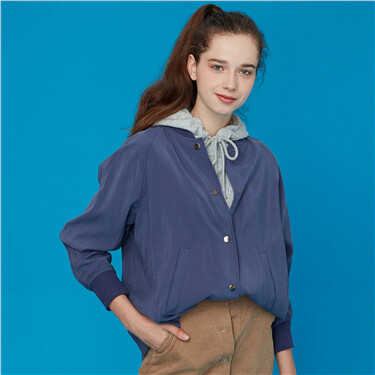 Stand collar buttons closure bomber jacket
