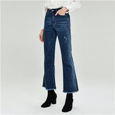 毛边裤脚微喇五袋款牛仔裤