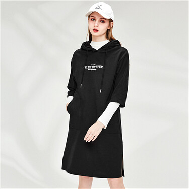 Letter printing 3/4 sleeves hooded dress