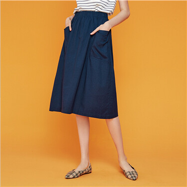 Linen-cotton slant pockets skirt