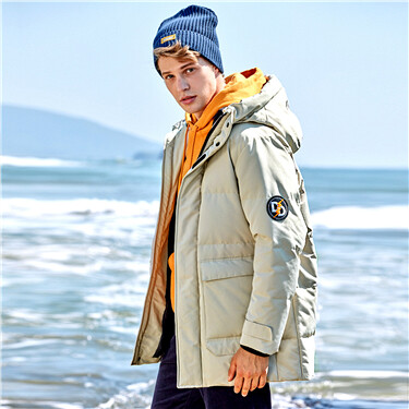 Machine washable 90% white duck down hooded jacket