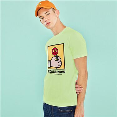 趣味图案印花圆领短袖T恤
