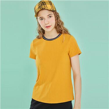 坑条撞色圆领短袖T恤
