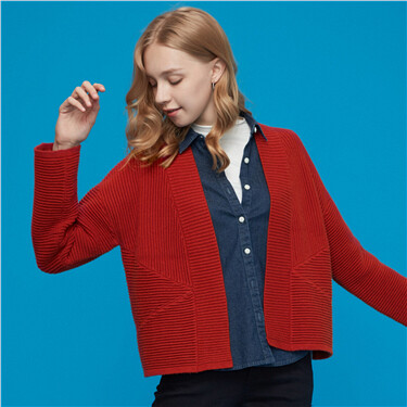 Open placket without buttons cardigan