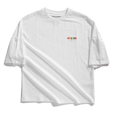字母刺绣宽松圆领短袖T恤