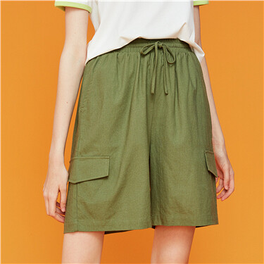 Linen-cotton elastic waistband cargo shorts