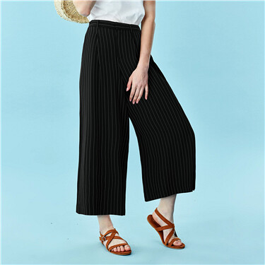 Mid-rise wide-leg ankle-length pants