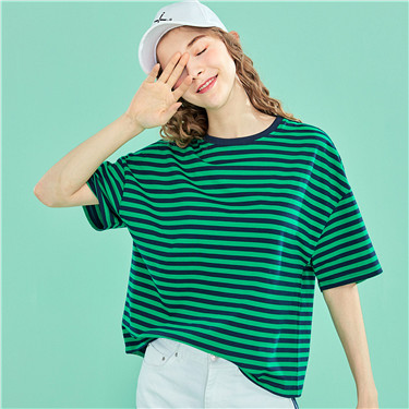 Striped crewneck short-sleeve tee
