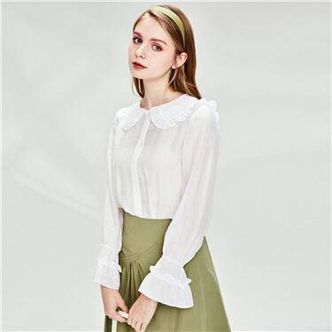 Doll collar ruffled cuffs long sleeves shirt