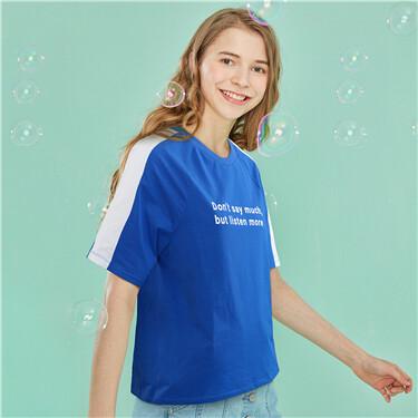 印花撞色圆领短袖T恤