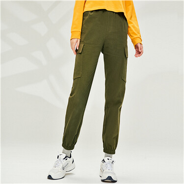 Cotton cargo pockets elastic waistband pants
