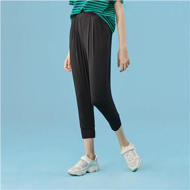 Elastic waistband banded cuffs harem pants