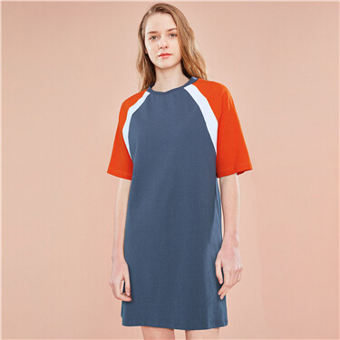 Contrast color cotton crewneck dress