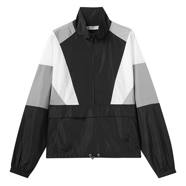 Contrast stand collar half placket jacket