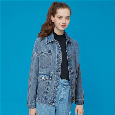 Double flap pockets denim jacket