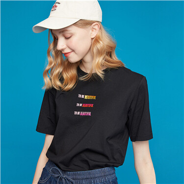 Heat-printed letters crewneck short-sleeve tee