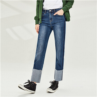 Contrast roll-up ankle-length jeans
