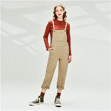 Multi-pocket casual suspender pants