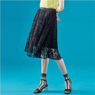 Elastic waist midi skirt