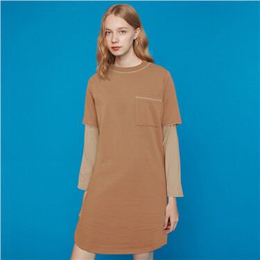 Fake 2-piece crewneck dress