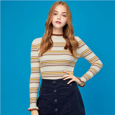 Stripe lace cuffs mockneck sweater