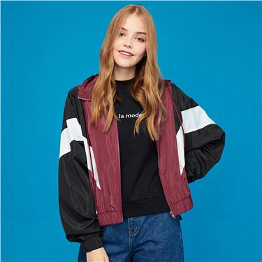Contrast stand collar zip front jacket