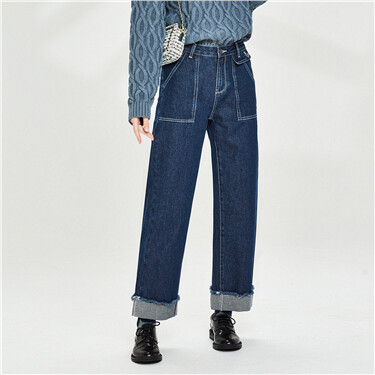 Roll-up cuffs patch pockets jeans