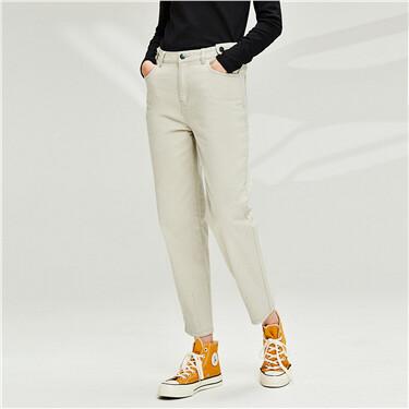 Pleated cuffs multi-pocket radish pants