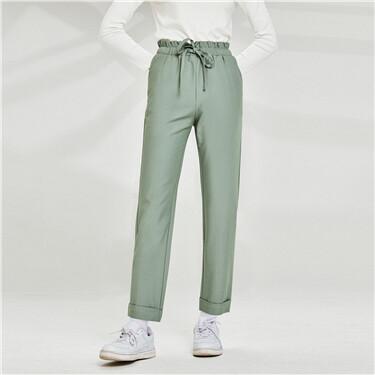 Ruffle waist elastic waistband pants