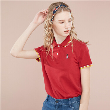 Embroidery contrast color polo shirt